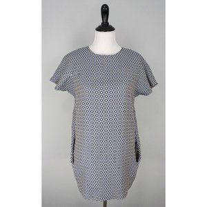 CLUB MONACO Blue Floral Diamond Pocket Dress